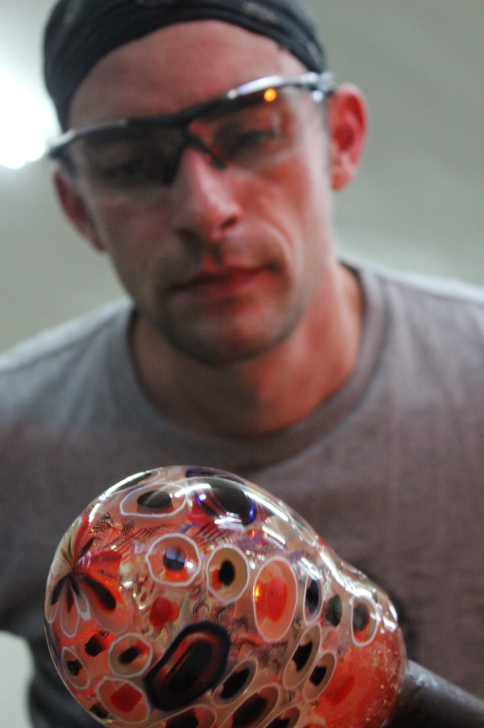Zac Gorell inspecting a murrine pickup.